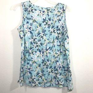 J Jill blue floral linen sleeveless top sz SP
